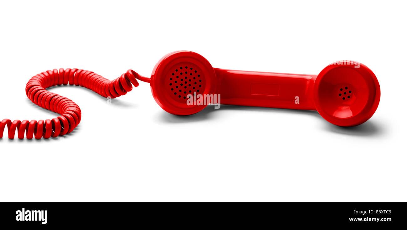 Teléfono Rojo Descolgado aislado sobre fondo blanco. Imagen De Stock
