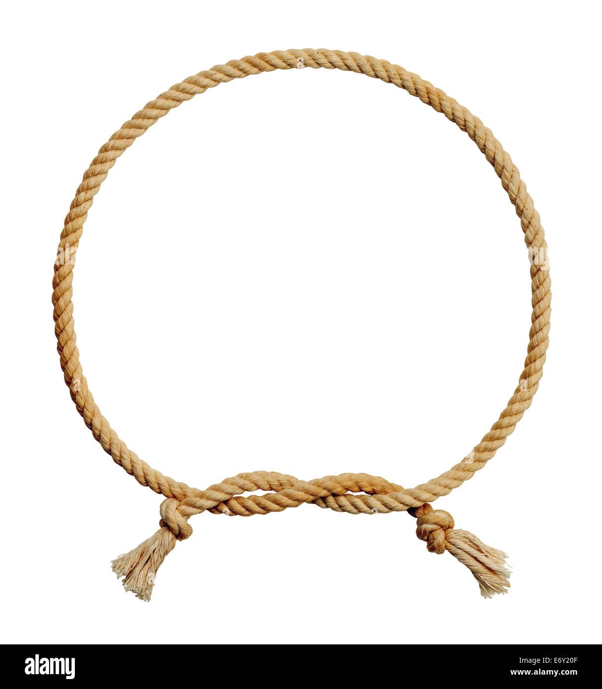 Cuerda vieja y sucia del bastidor del círculo aislado sobre fondo blanco. Imagen De Stock