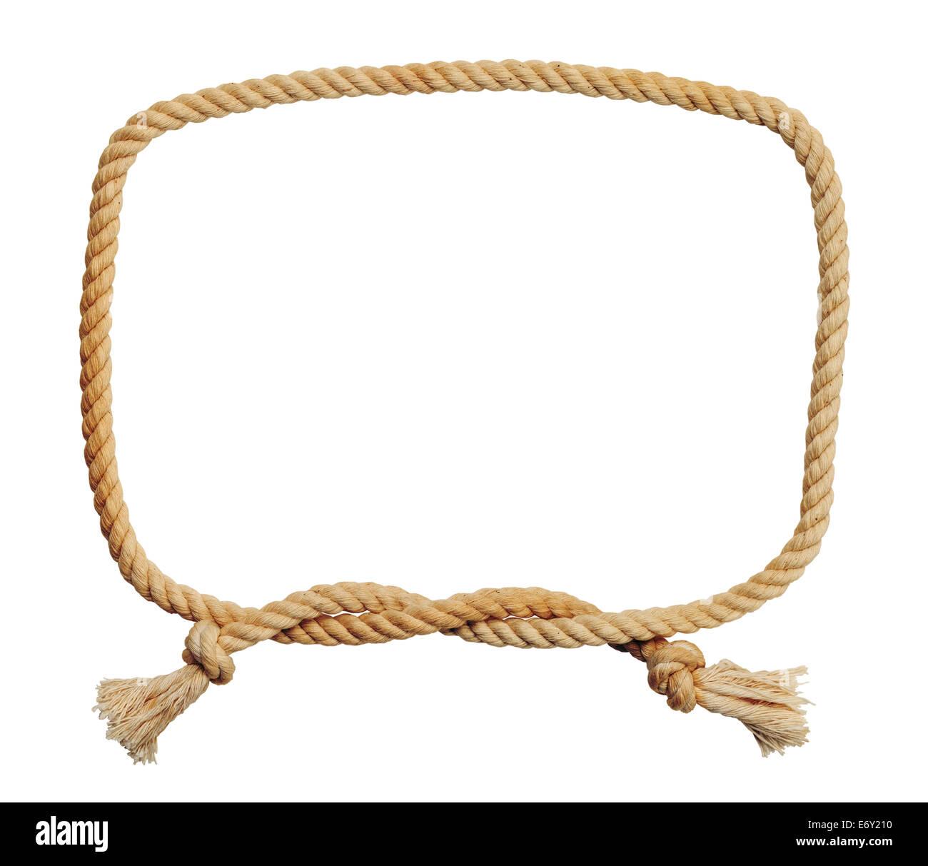 Vieja y sucia cuerda nudo cuadrado fotograma aislado sobre fondo blanco. Imagen De Stock