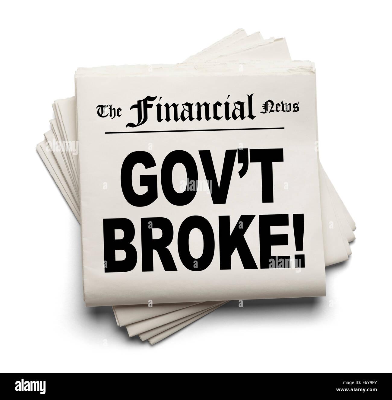 Nuevo papel financiero con Gov't rompió Headline aislado sobre fondo blanco. Foto de stock