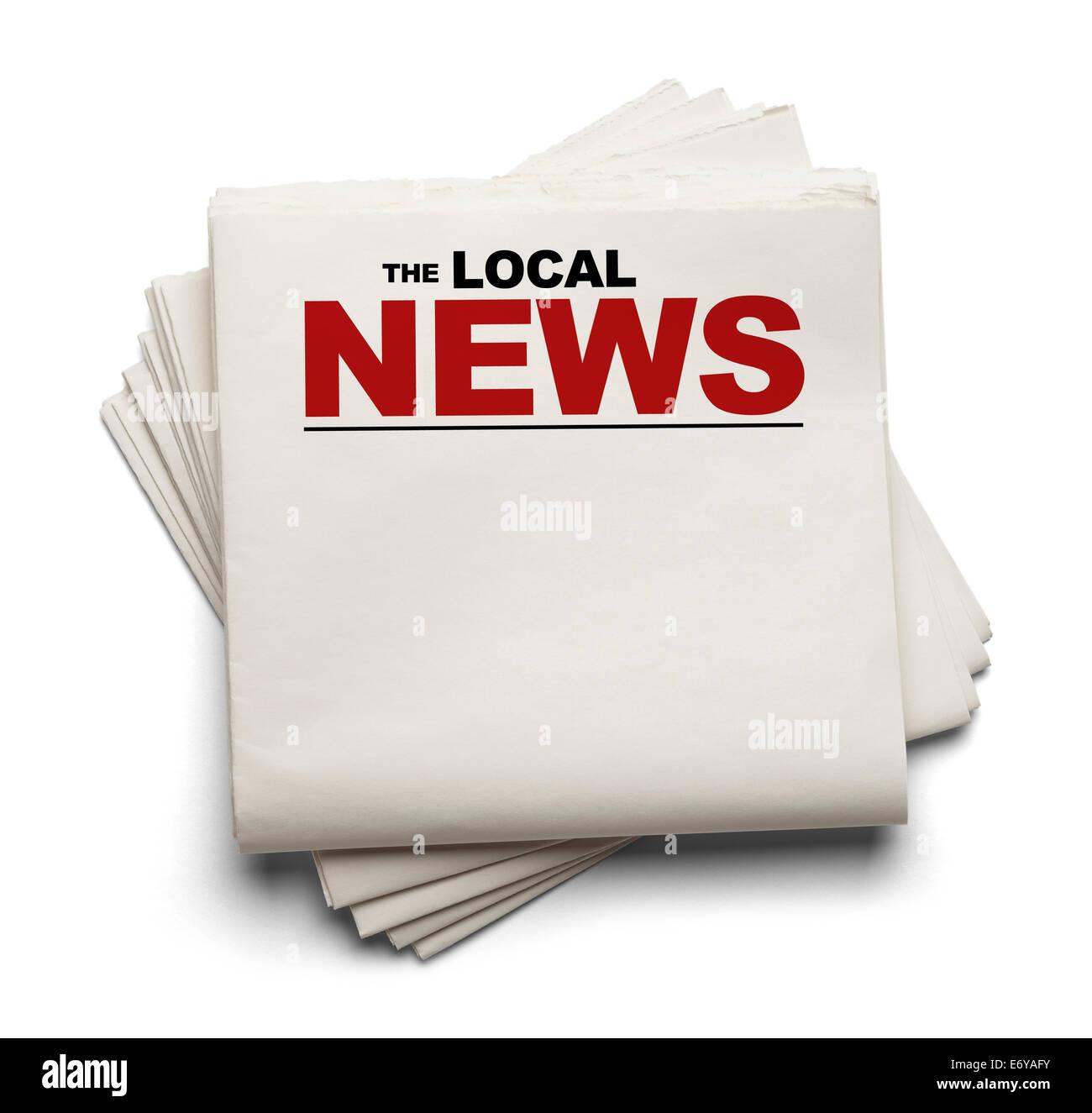 La pila de papel en blanco noticias locales periódicos aislado sobre fondo blanco. Imagen De Stock
