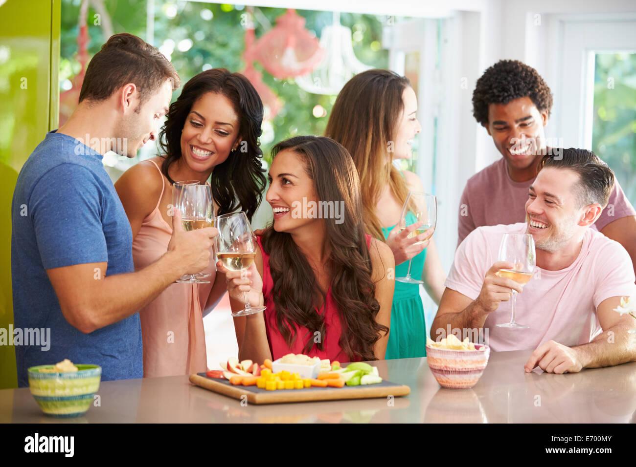 Grupo de amigos disfrutando de bebidas fiesta en casa Imagen De Stock