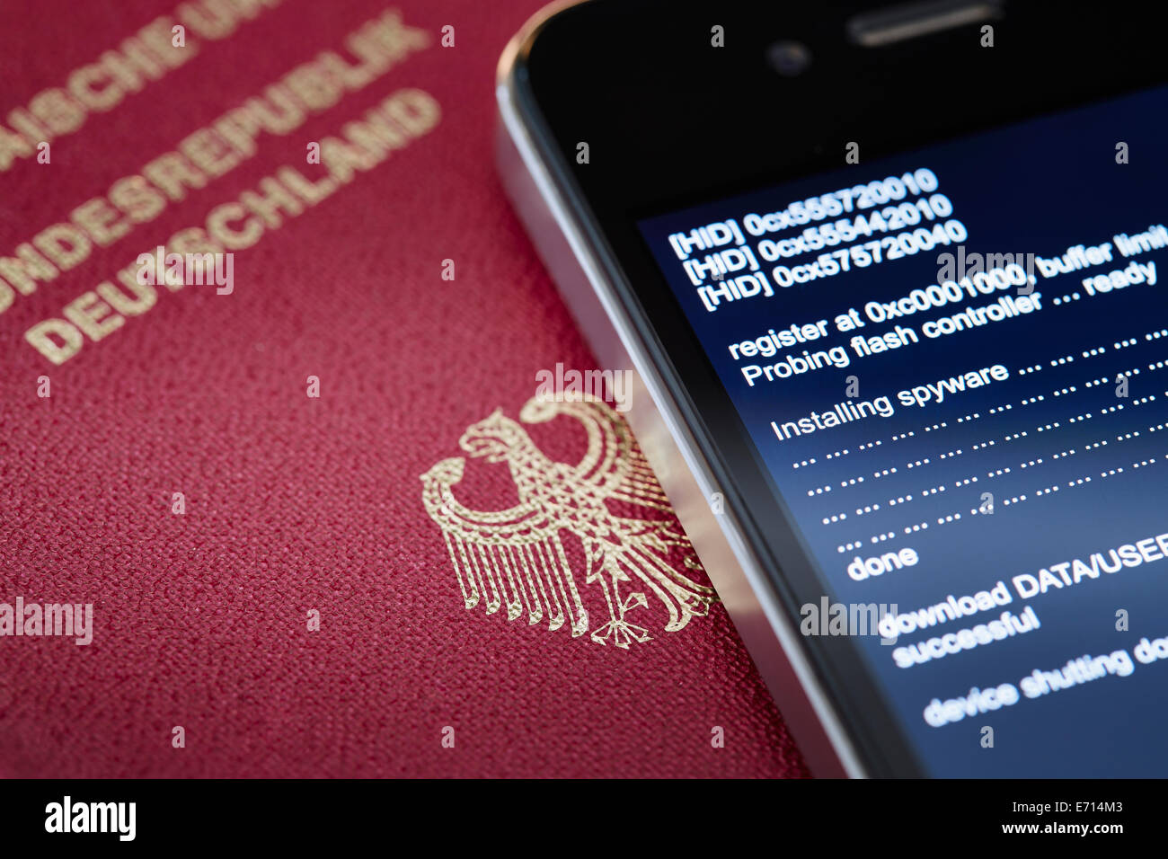Smartphone alemán intervenidas por spyware Imagen De Stock