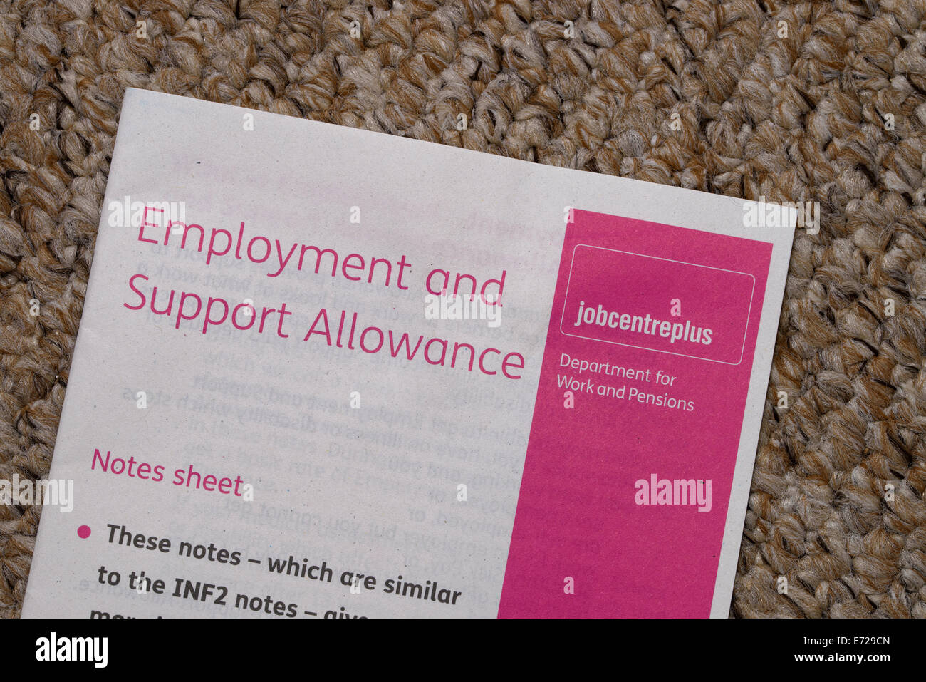 Notas para acompañar una hoja de empleo y subsidio de apoyo (SEC) Formulario de solicitud Imagen De Stock