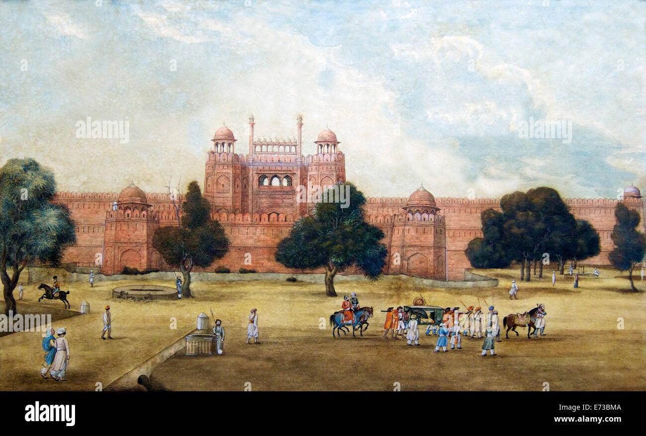 Pintura de Fuerte Rojo, del siglo XIX, el Museo Arqueológico, la Fortaleza Roja, Nueva Delhi, India, Asia Imagen De Stock