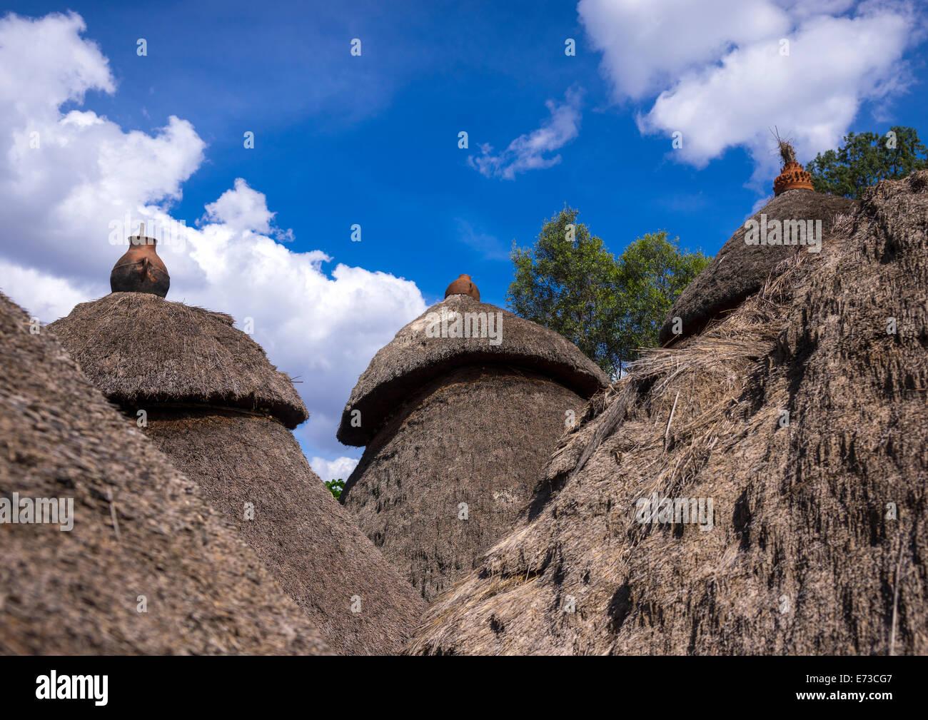 Tribu Konso casas tradicionales con ollas en la parte superior, Konso, Valle de Omo, Etiopía Foto de stock