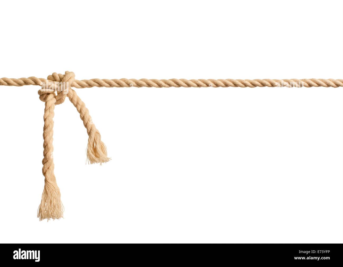 Nudo de cuerda sobre fondo blanco. Imagen De Stock
