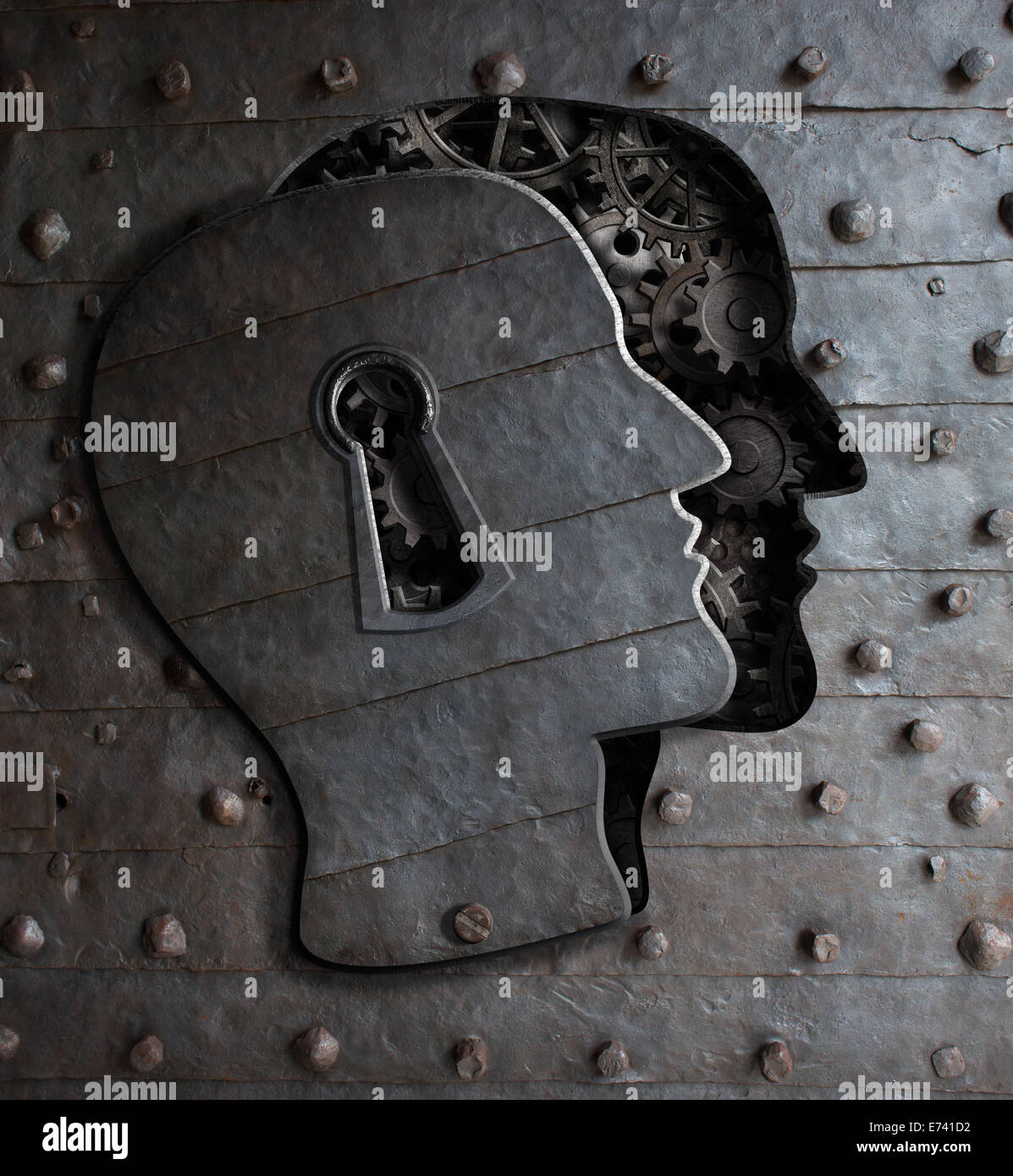 Puerta con cerradura del cerebro humano concepto de metal y engranajes de dientes Imagen De Stock