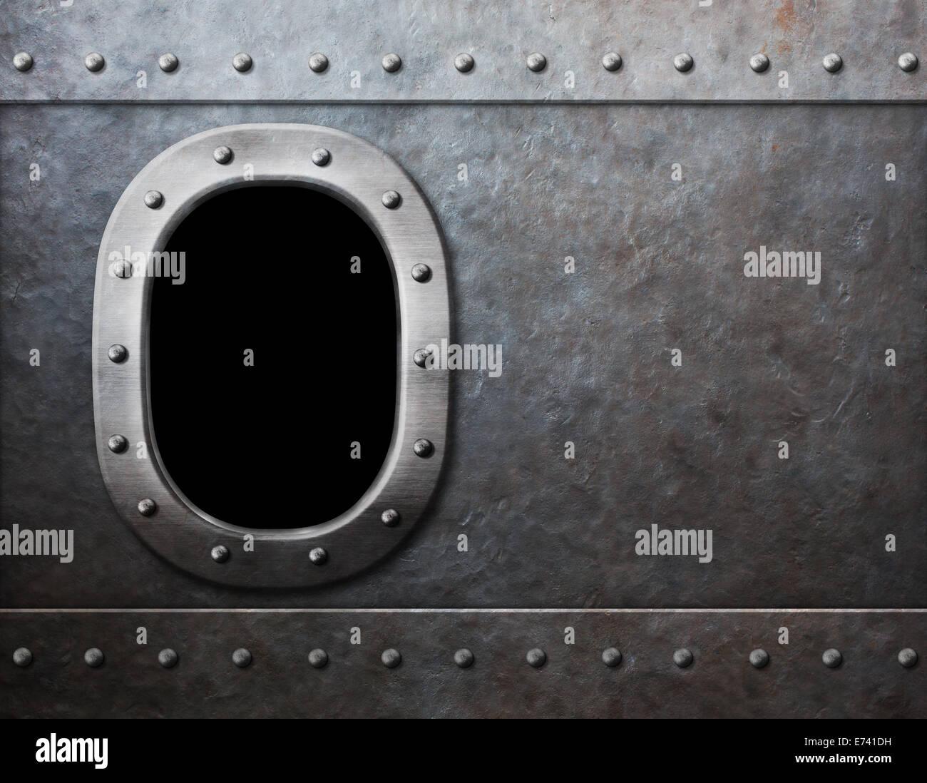 Buque o submarino Steam Punk metal fondo de ventana Imagen De Stock