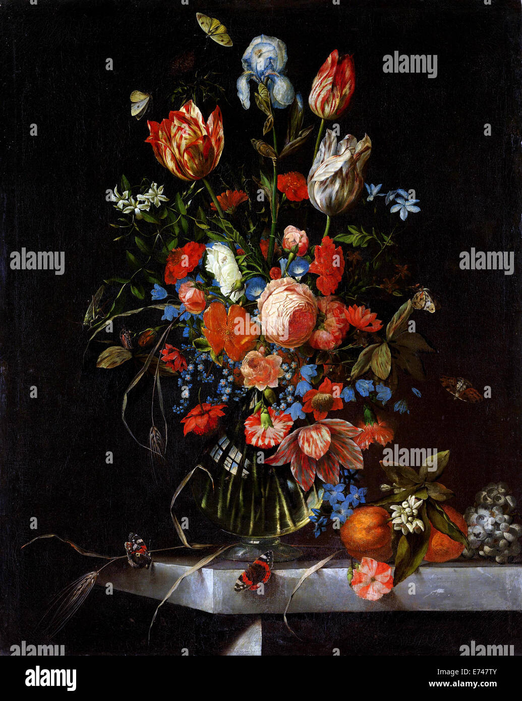 Bodegón con flores - por Ottmar Elliger, 1673 Imagen De Stock