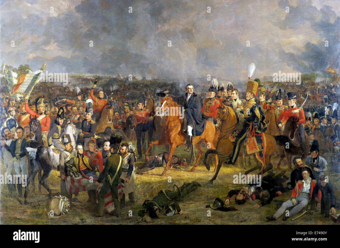 La batalla de Waterloo - por Jan Willem Pieneman, 1824 Foto de stock
