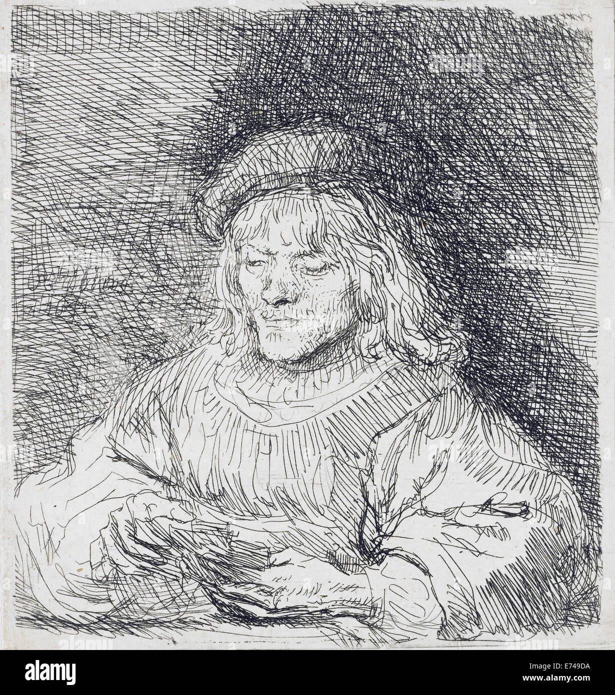 La tarjeta de jugador - por Rembrandt Harmensz van Rijn, 1641 Foto de stock