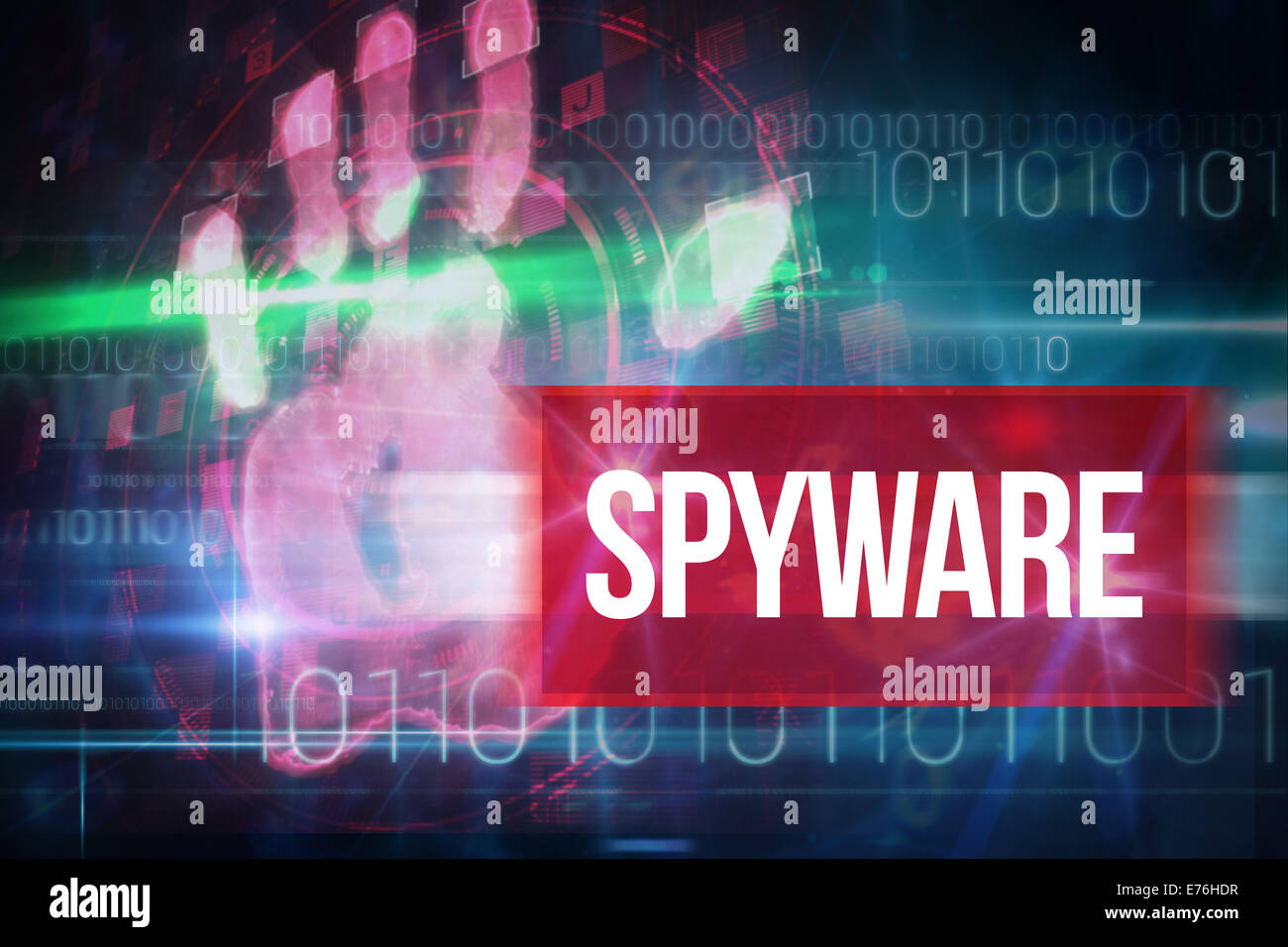 Spyware contra azul con diseño de tecnología de código binario Imagen De Stock