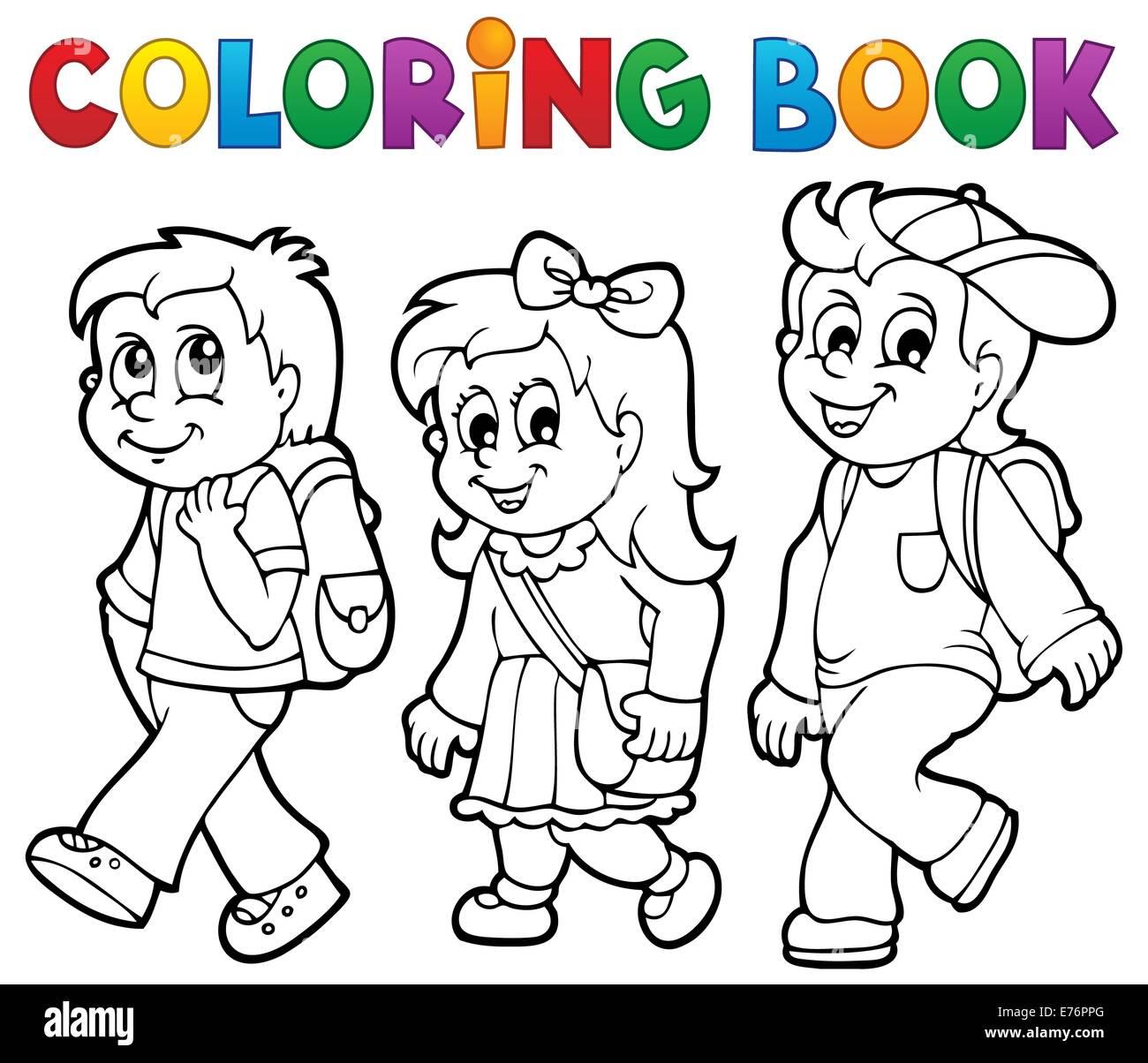 Libro Para Colorear De Niños De Escuela Tema 2 Imagen Ilustración