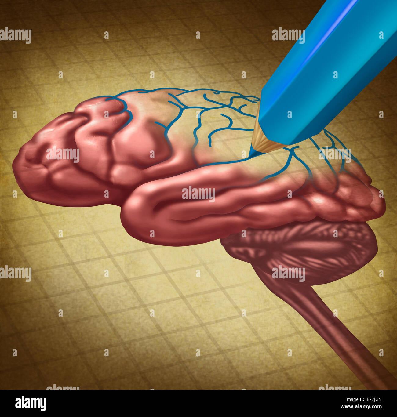 Reparar el cerebro y restablecer la memoria perdida concepto médico como un pensamiento humano órgano con una porción Foto de stock