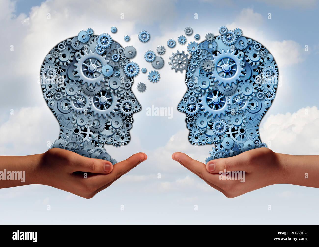 Concepto de tecnología empresarial como dos manos sosteniendo un grupo de engranajes de la máquina con Imagen De Stock