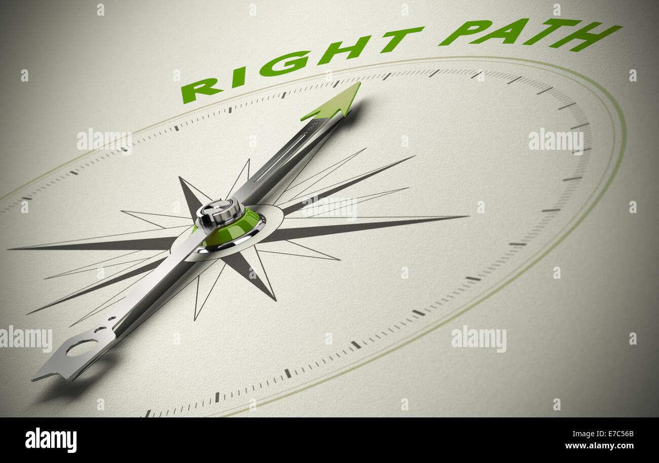 Brújula con el texto correcto trazado, imagen concepto para una buena dirección de tonos beige y verde. Imagen De Stock