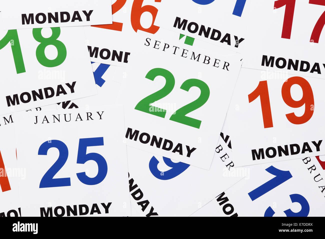 Cada día es el lunes. Cada día es como el lunes. Imagen De Stock
