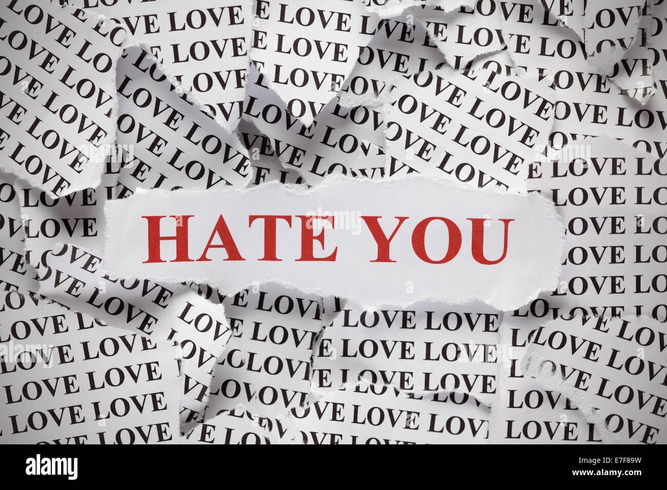 Te Odio Los Pedazos De Papel Con La Palabra Amor Y La