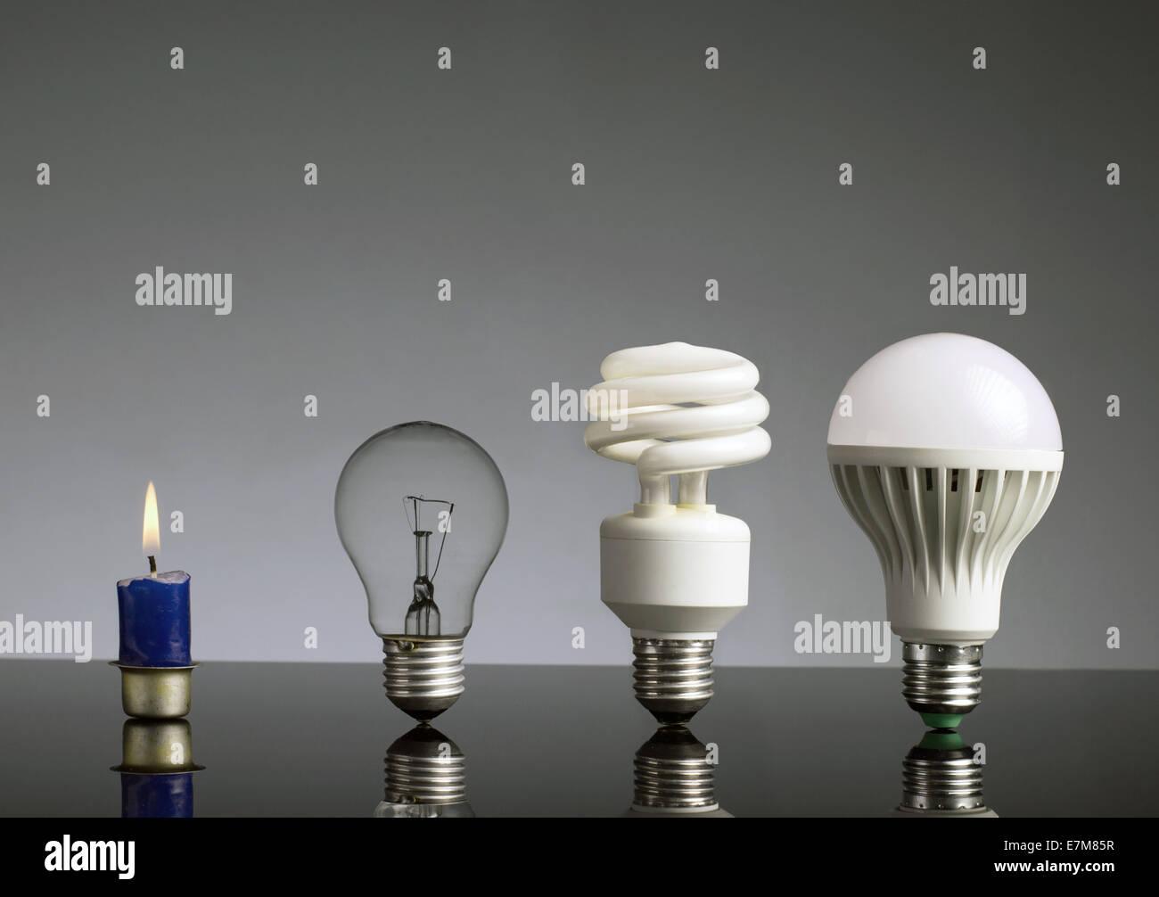 Concepto de evolución, Vela, lámpara de tungsteno, fluorescente bombilla y bombilla LED Imagen De Stock