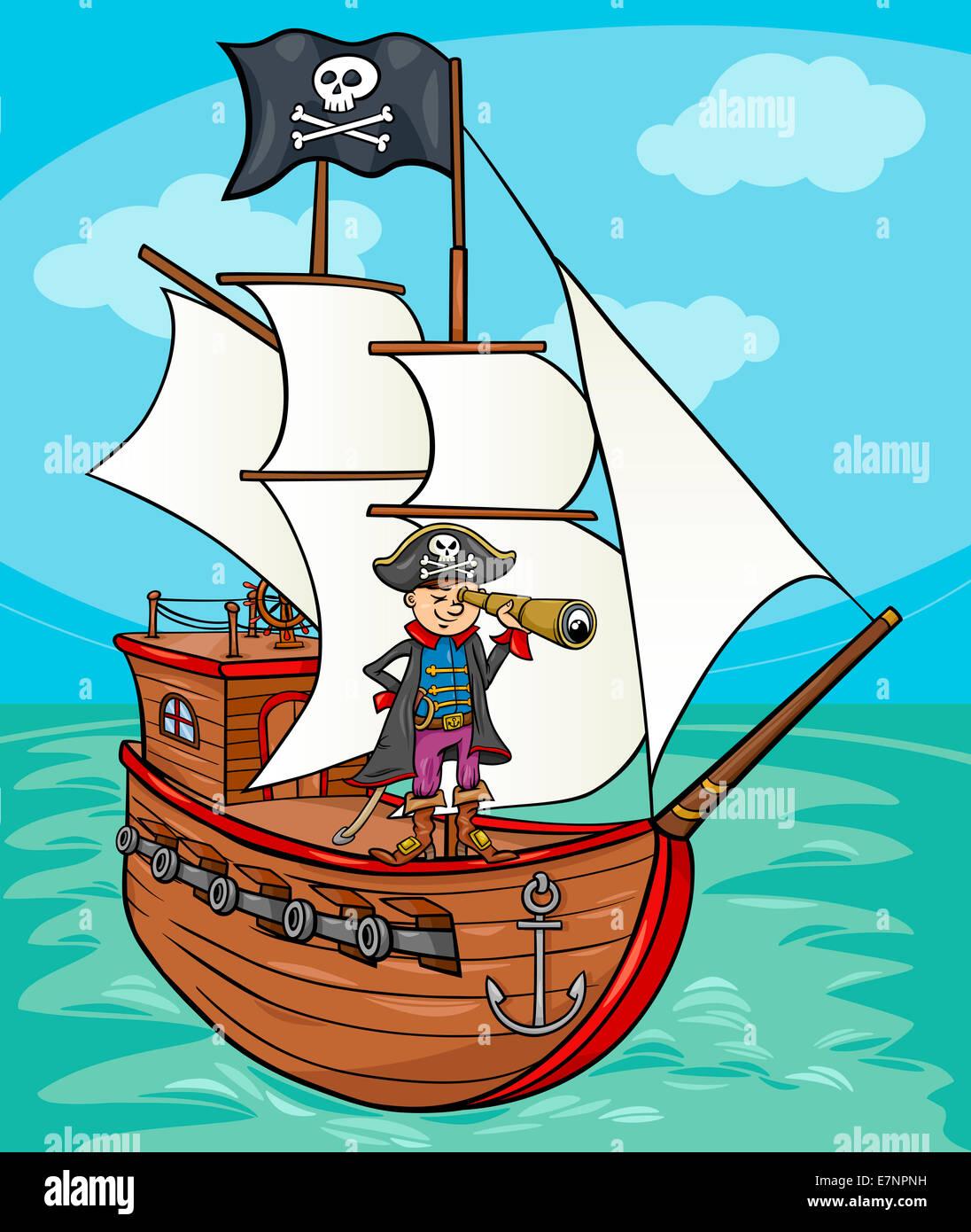 Ilustración Caricatura Divertida De Capitán Pirata Con Spyglass Y