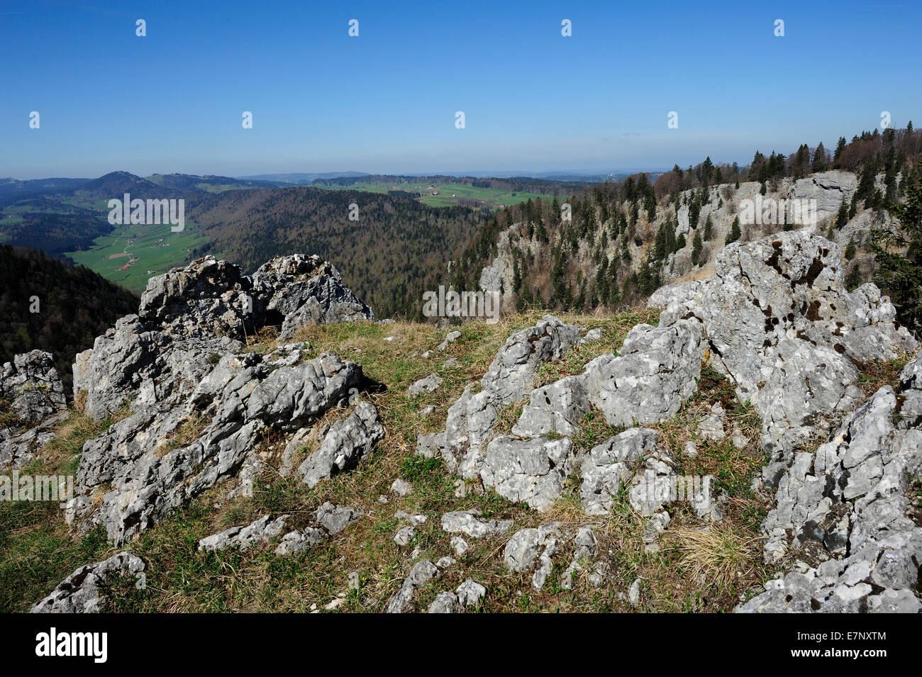 Chasseral, montaña del Jurásico, Jura, Met. de l'ille, La du Joux Plane, Le Côty, Cantón Imagen De Stock