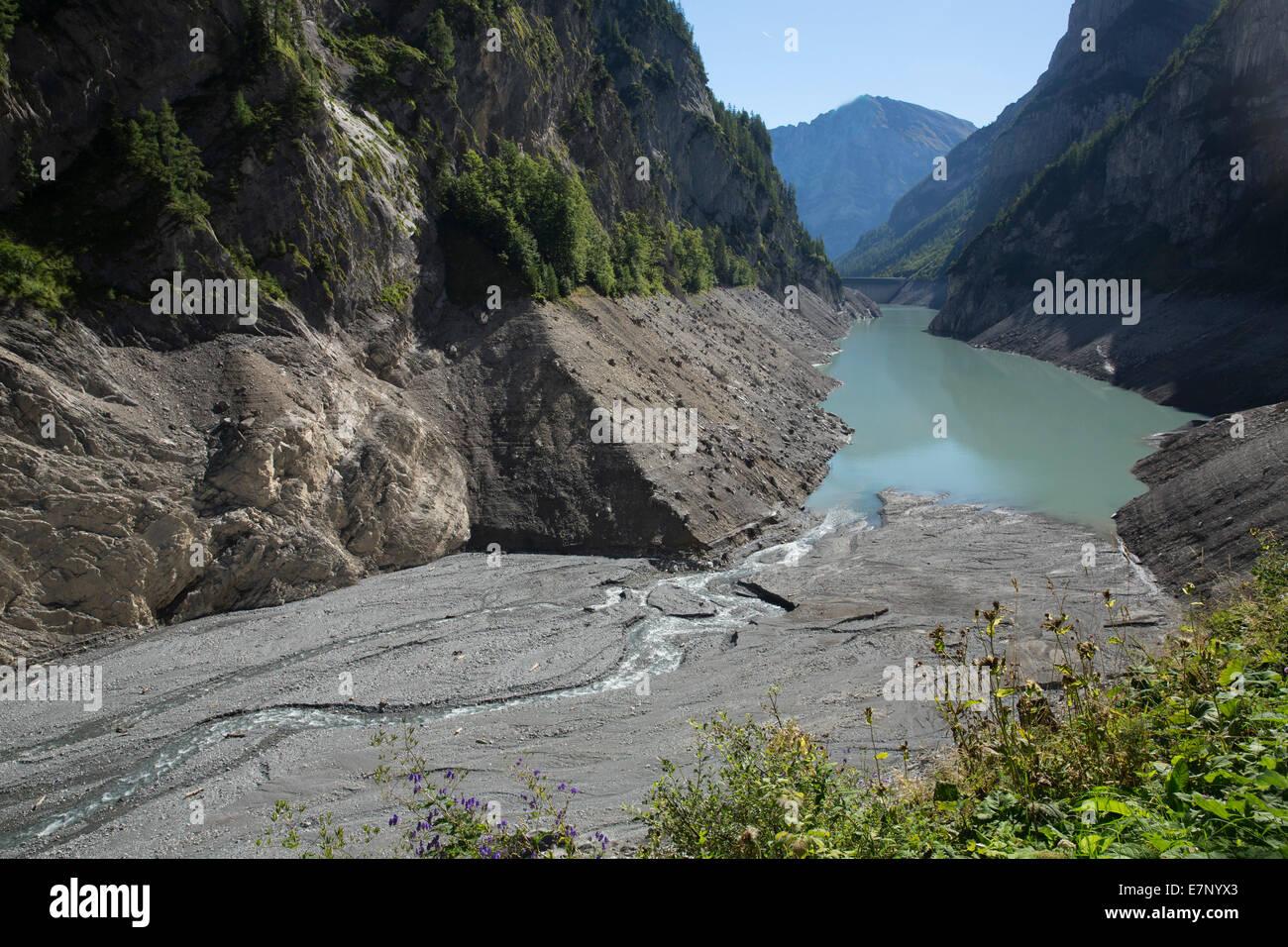 Calfeisental, depósito, vacío Gigerwald, agua, SG, en el cantón de San Gallen, energía, Suiza, Imagen De Stock