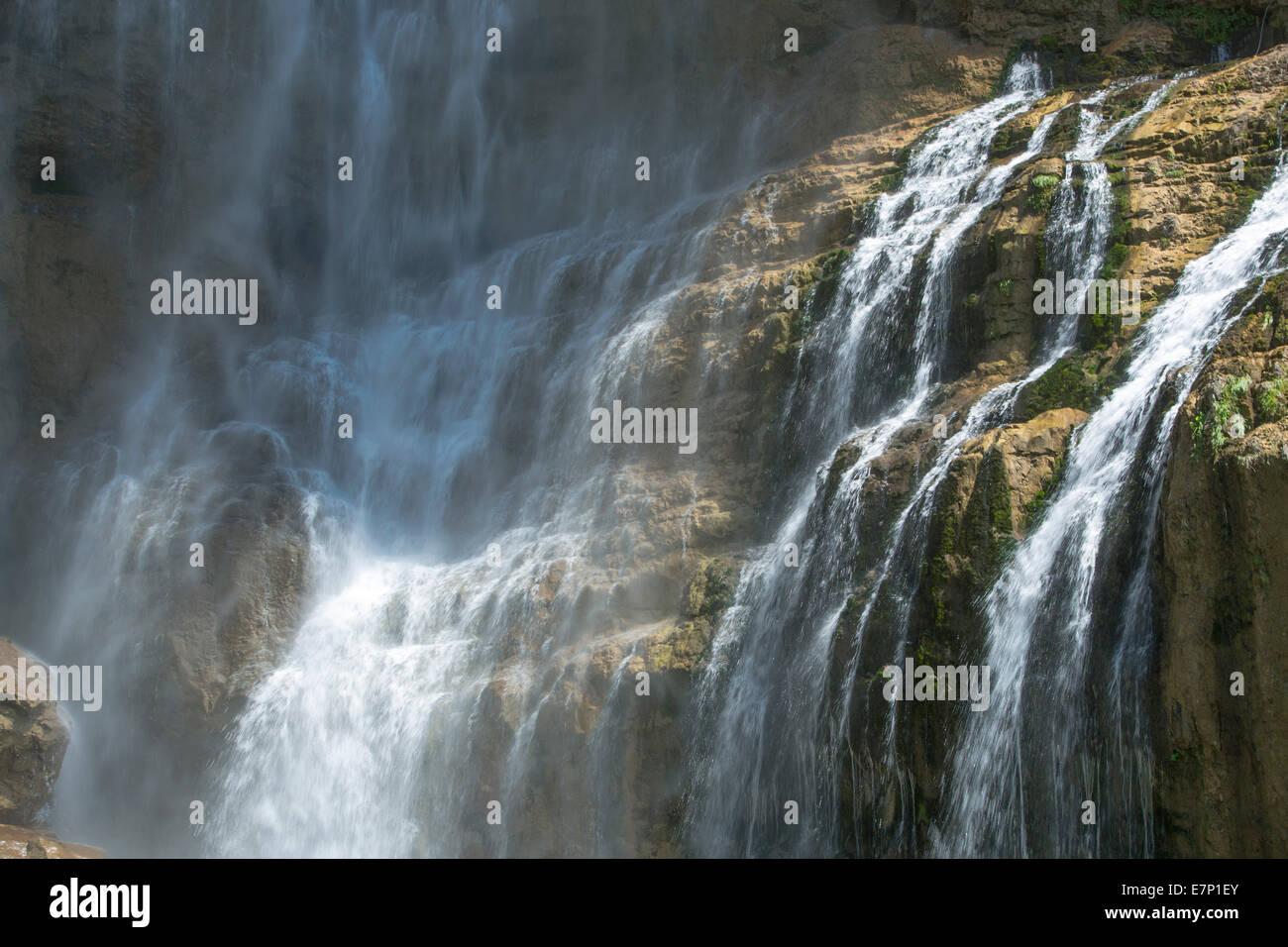 Walensee, Bethlis Seerenbachfälle, SG, agua, cascada, SG, en el cantón de San Gallen, Suiza, Europa Imagen De Stock