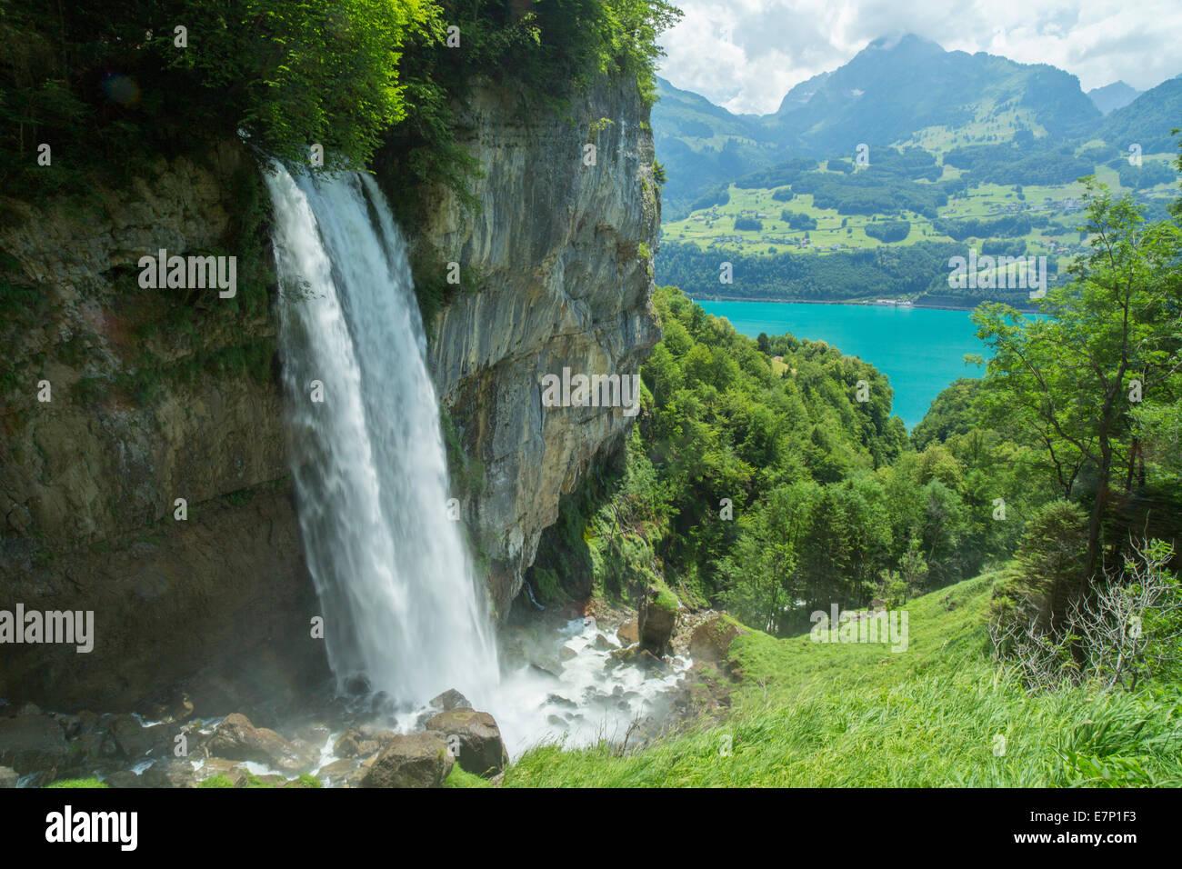 Rinquelle Bethlis Walensee,,, agua, cascada, SG, cantón San Gallen, manantial, fuente, Suiza, Europa Imagen De Stock