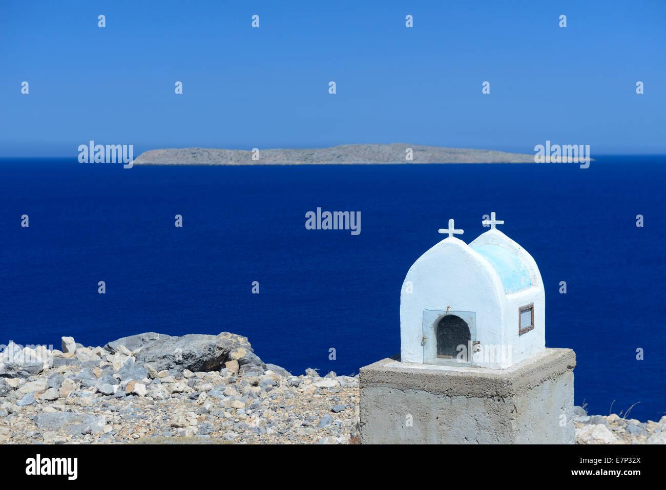 Europa, Grecia, Creta, Grecia, el Mediterráneo, la isla, Itanos, Playa, iglesia, religión, Mar blanco, Imagen De Stock