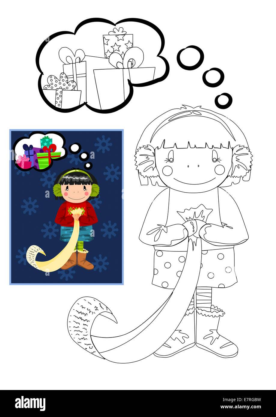 Libro para colorear con niña soñando con los regalos de Navidad ...