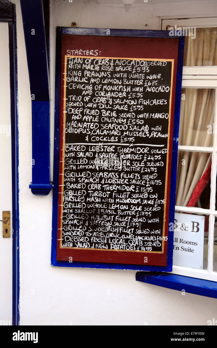 Menú de mariscos Lymington Hampshire Imagen De Stock