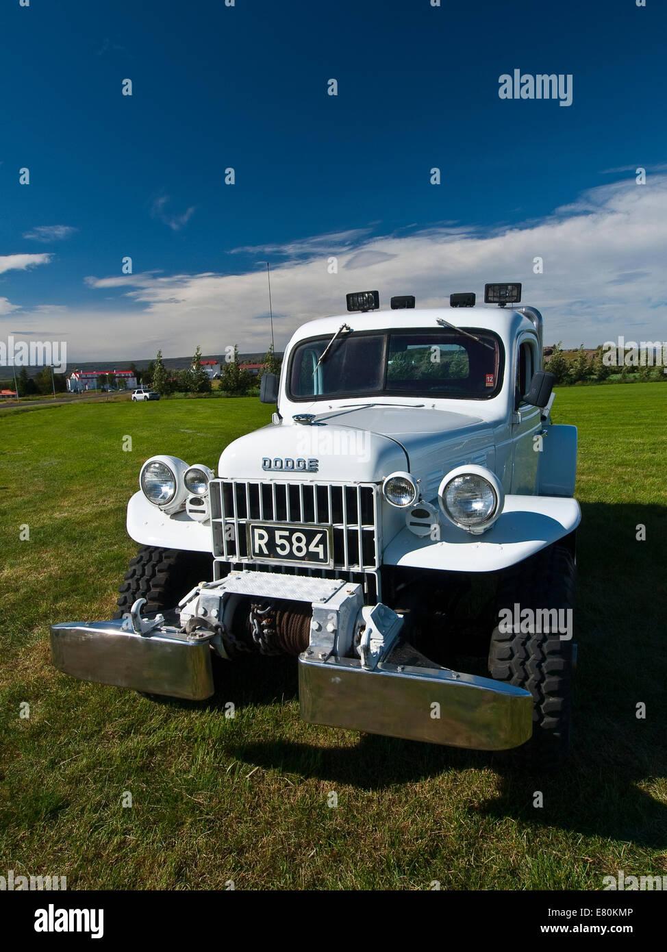 Exposición de coches antiguos en Egilsstadir Islandia Foto de stock