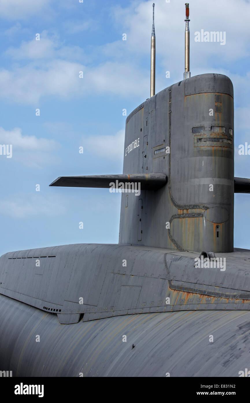 Vela del Redoutable, misil balístico submarino de la Marina Francesa en la Cité de la Mer, museo marítimo, Imagen De Stock