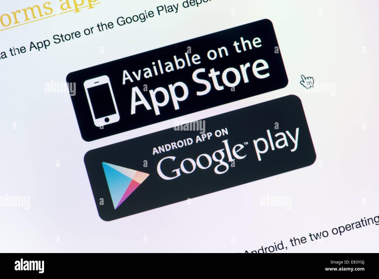 Primer plano de la pantalla del monitor con App Store y Google Play botones de descarga para descargar la aplicación Imagen De Stock