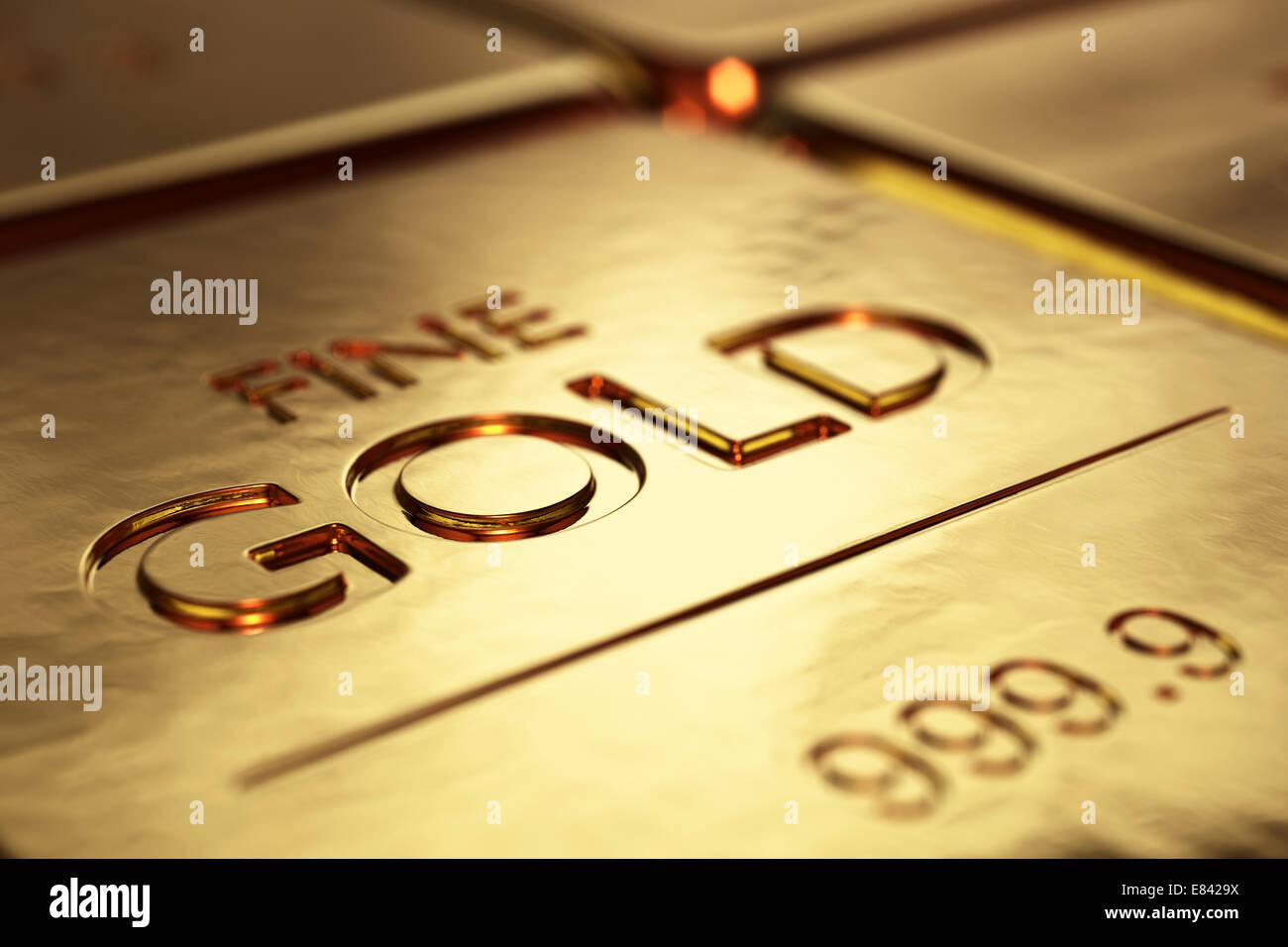 Barras de oro de cerca con poca DOF (Ilustración 3D) Imagen De Stock