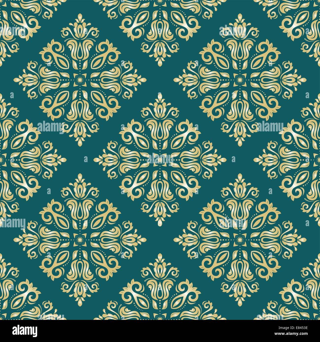 Patrón de vectores orientales con Damasco, arabesco y elementos florales. Resumen Antecedentes perfecta Imagen De Stock