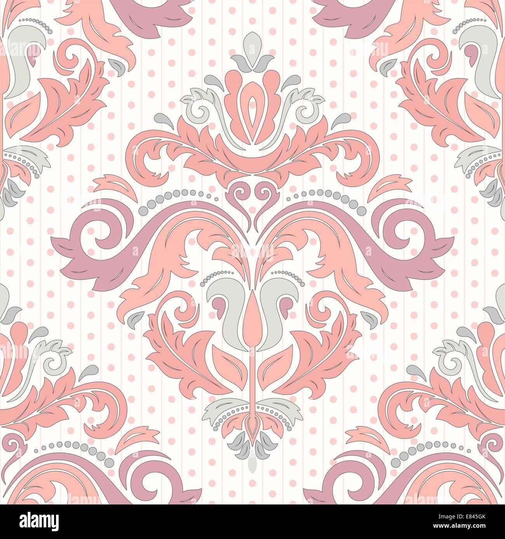 Vector Floral oriental con patrón de damasco, arabesco y elementos florales. Perfecta wallpaper abstracto y Imagen De Stock