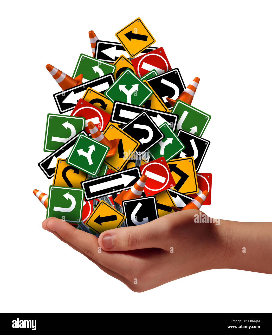 El asesoramiento ayuda soporte concepto como una mano sosteniendo un grupo de señales de tráfico confusas Imagen De Stock