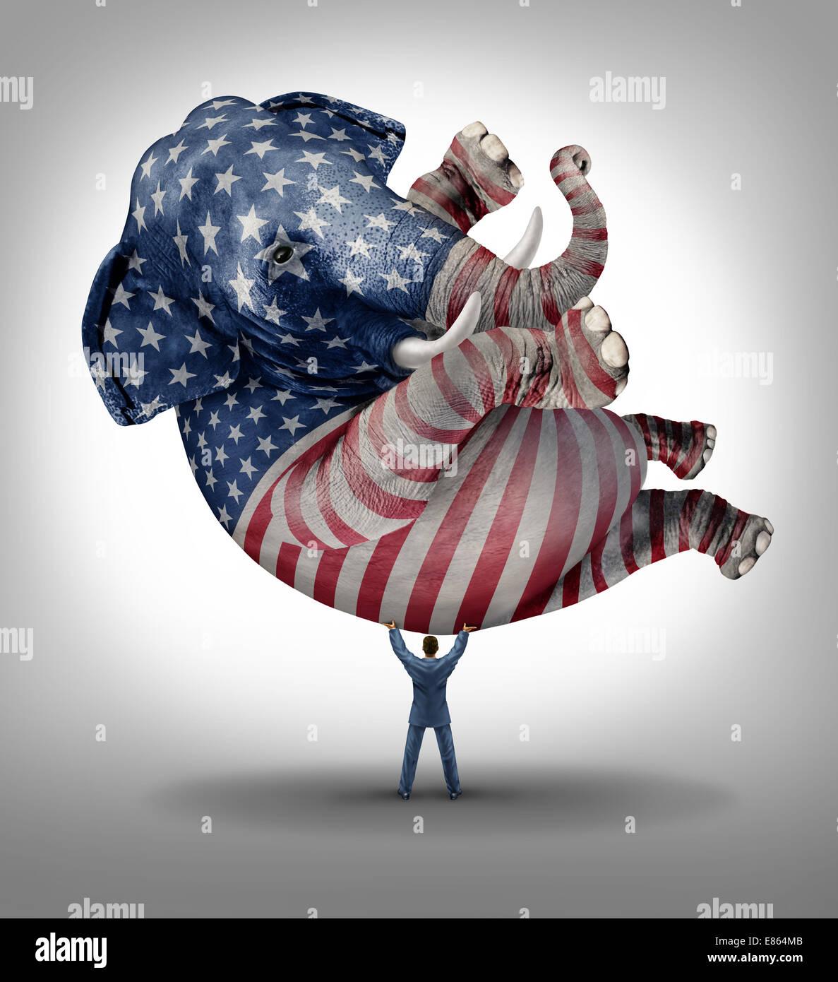 Voto republicano estadounidense elección símbolo de liderazgo como un elefante pintado con una bandera Imagen De Stock