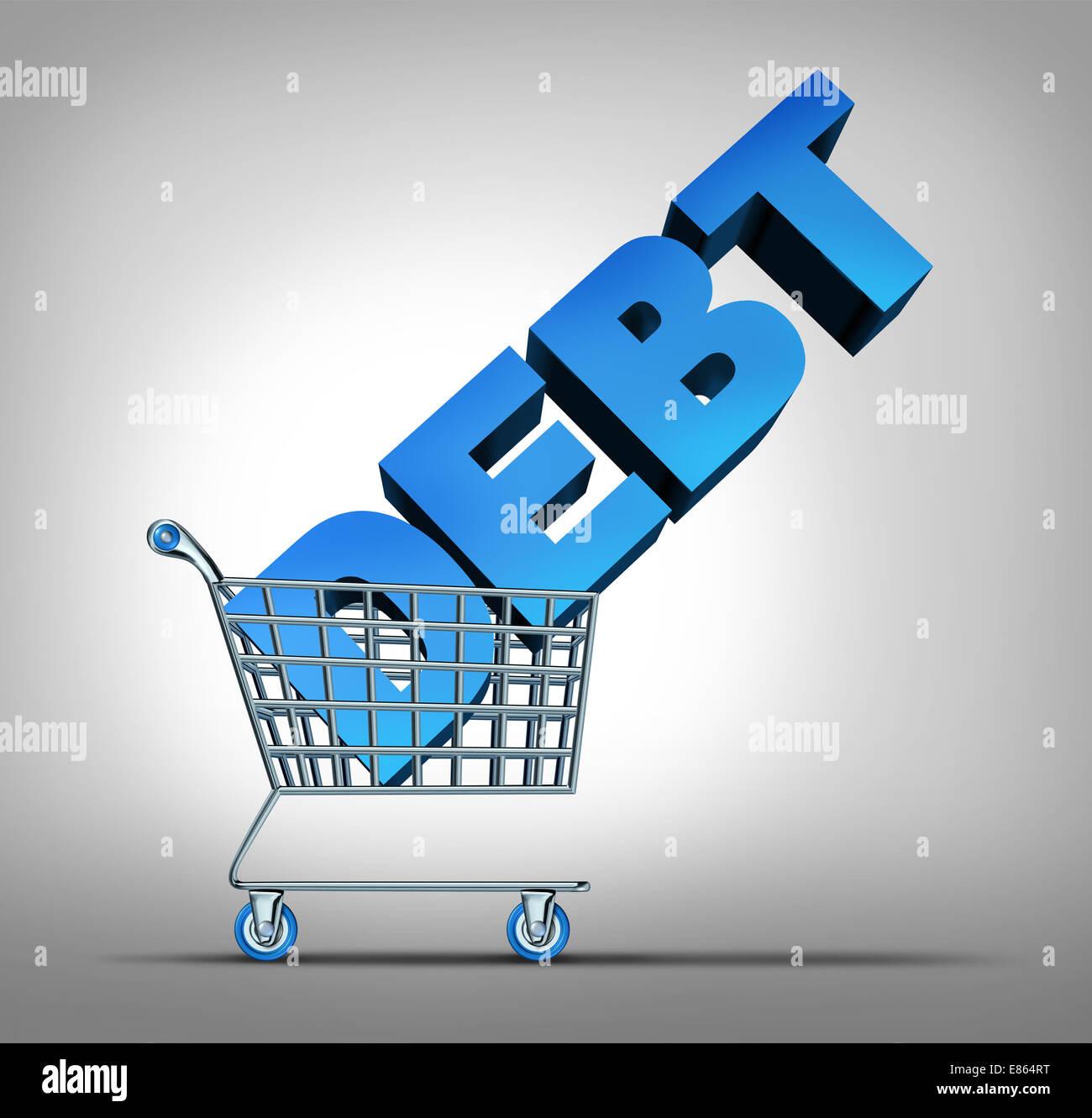 La deuda del consumidor como un concepto financiero compras arrastrando un texto tridimensional como un problema Foto de stock
