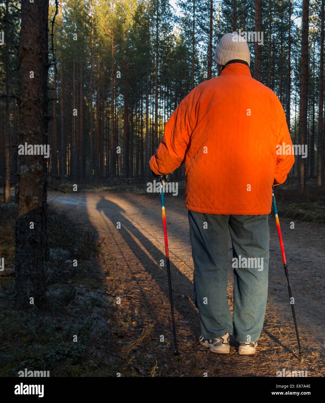 Anciana de pie en el bosque con nordic walking polacos , Finlandia Foto de stock