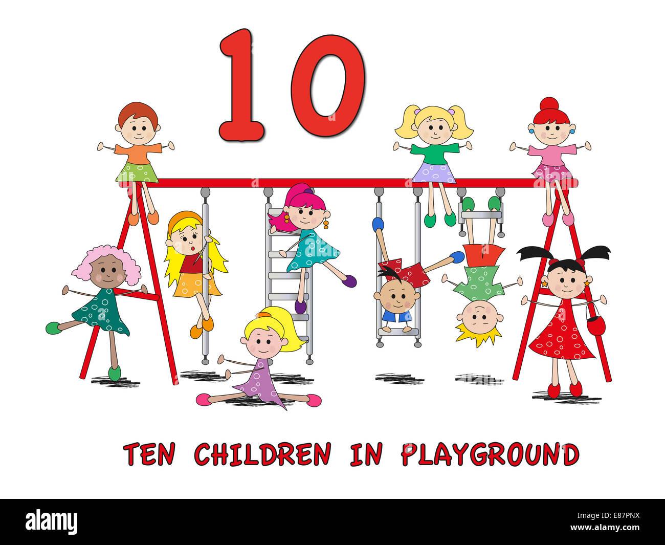 5 Número De Stock Con Niños De Dibujos Animados Foto Imagen De