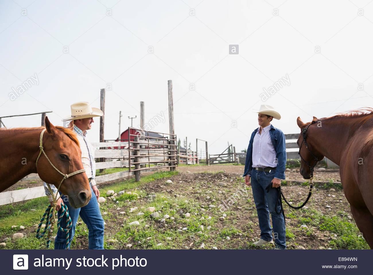Los rancheros con caballos hablando en la pastura Imagen De Stock