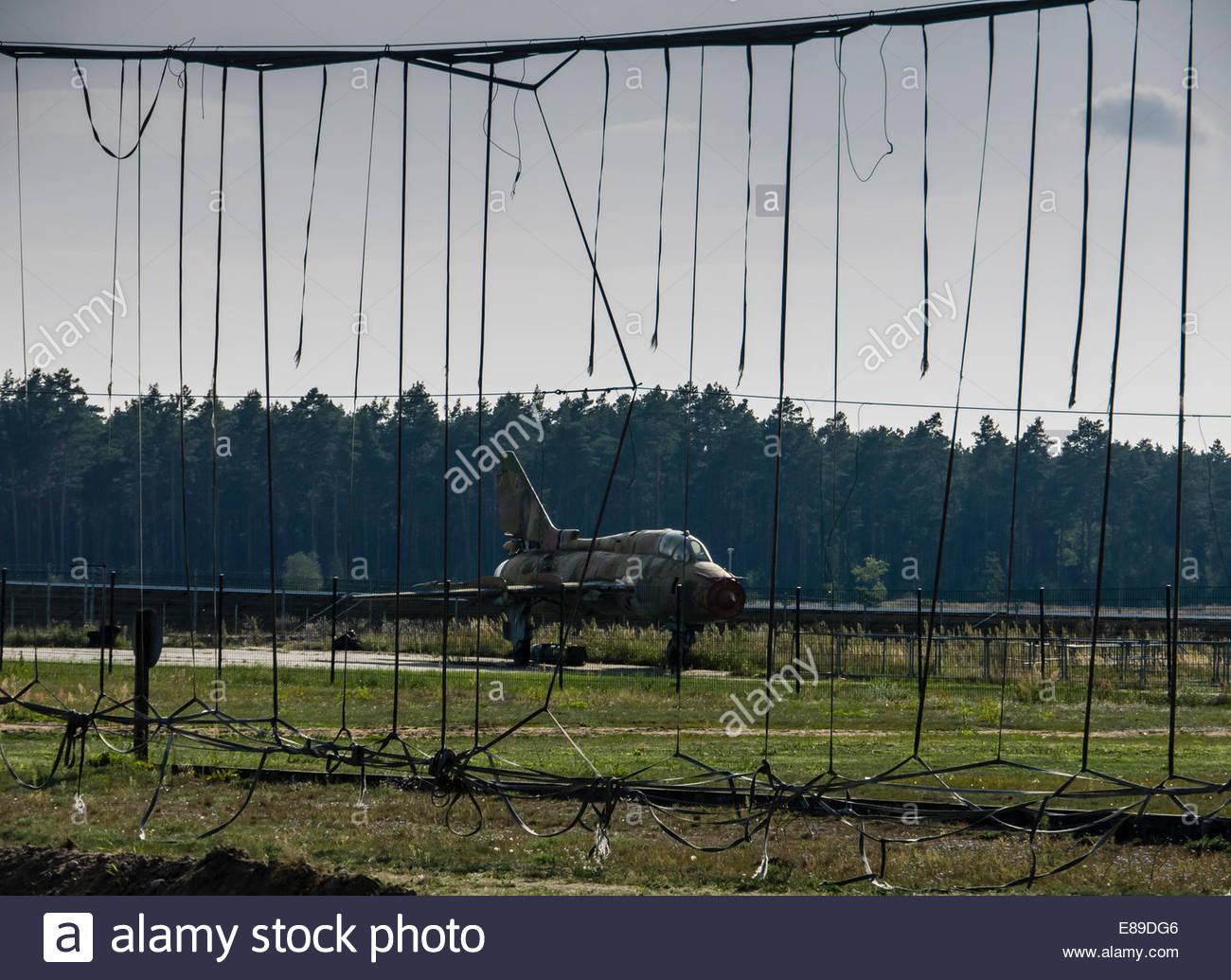 Alemania Oriental, DDR Finow, museo ruso de la guerra fría 21 aviones Mig Base de intercepción de barrera Imagen De Stock
