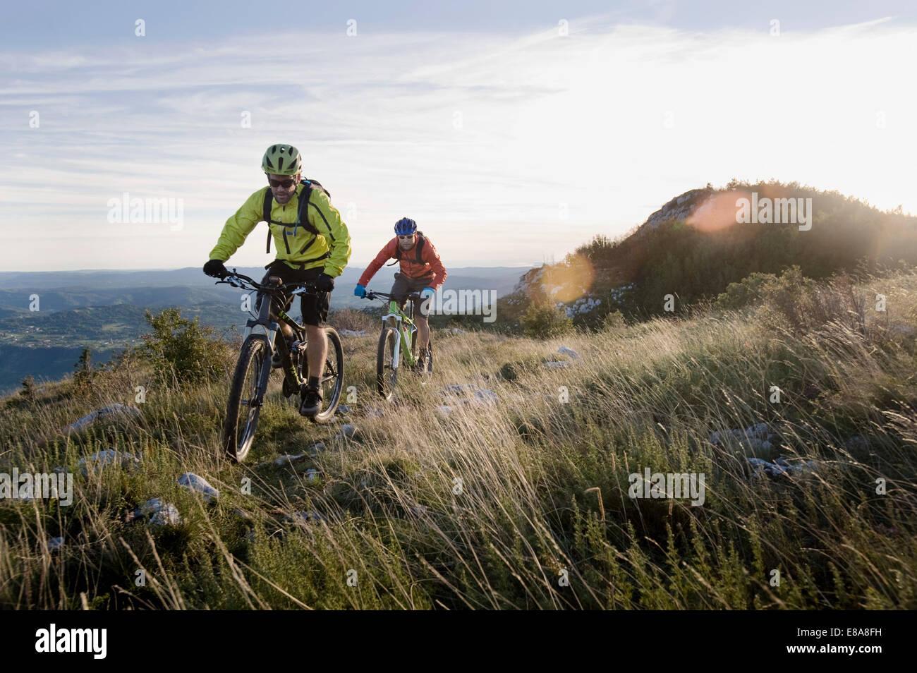 Dos ciclistas de montaña en el camino cuesta abajo, el valle de Vipava, Istria, Eslovenia Imagen De Stock