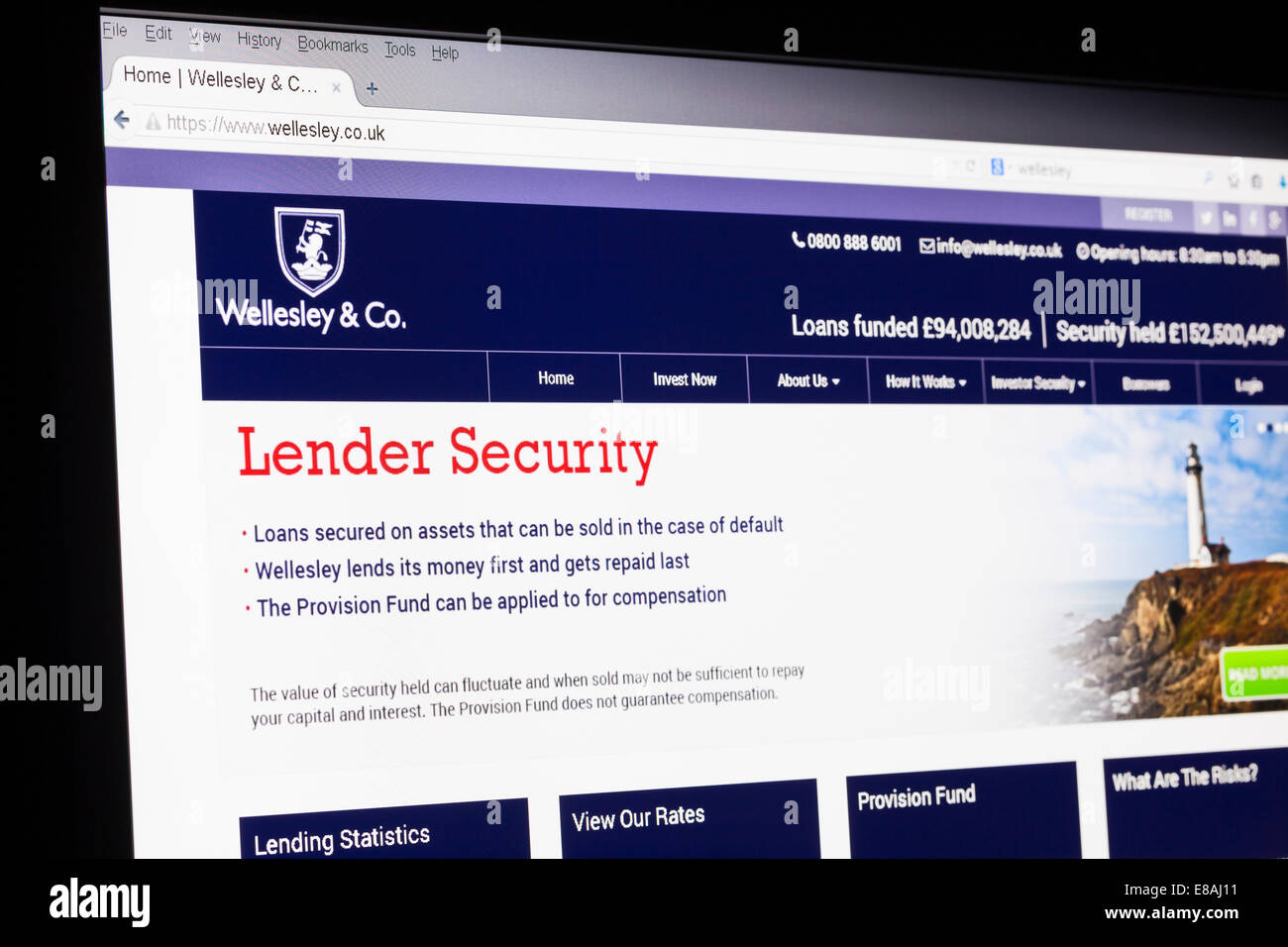 Captura de pantalla del Wellesley & co homepage Imagen De Stock