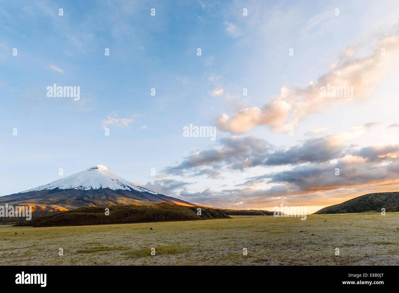 Atardecer en el poderoso Cotopaxi, el volcán activo más alto del mundo. Sierra Andina de Ecuador, América Imagen De Stock