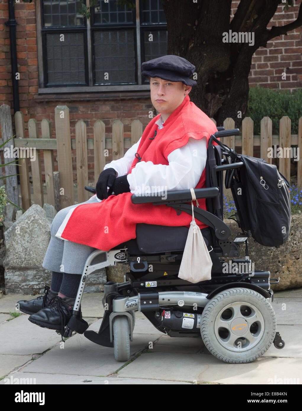 Actor actor de Shakespeare discapacitados en silla de ruedas Imagen De Stock