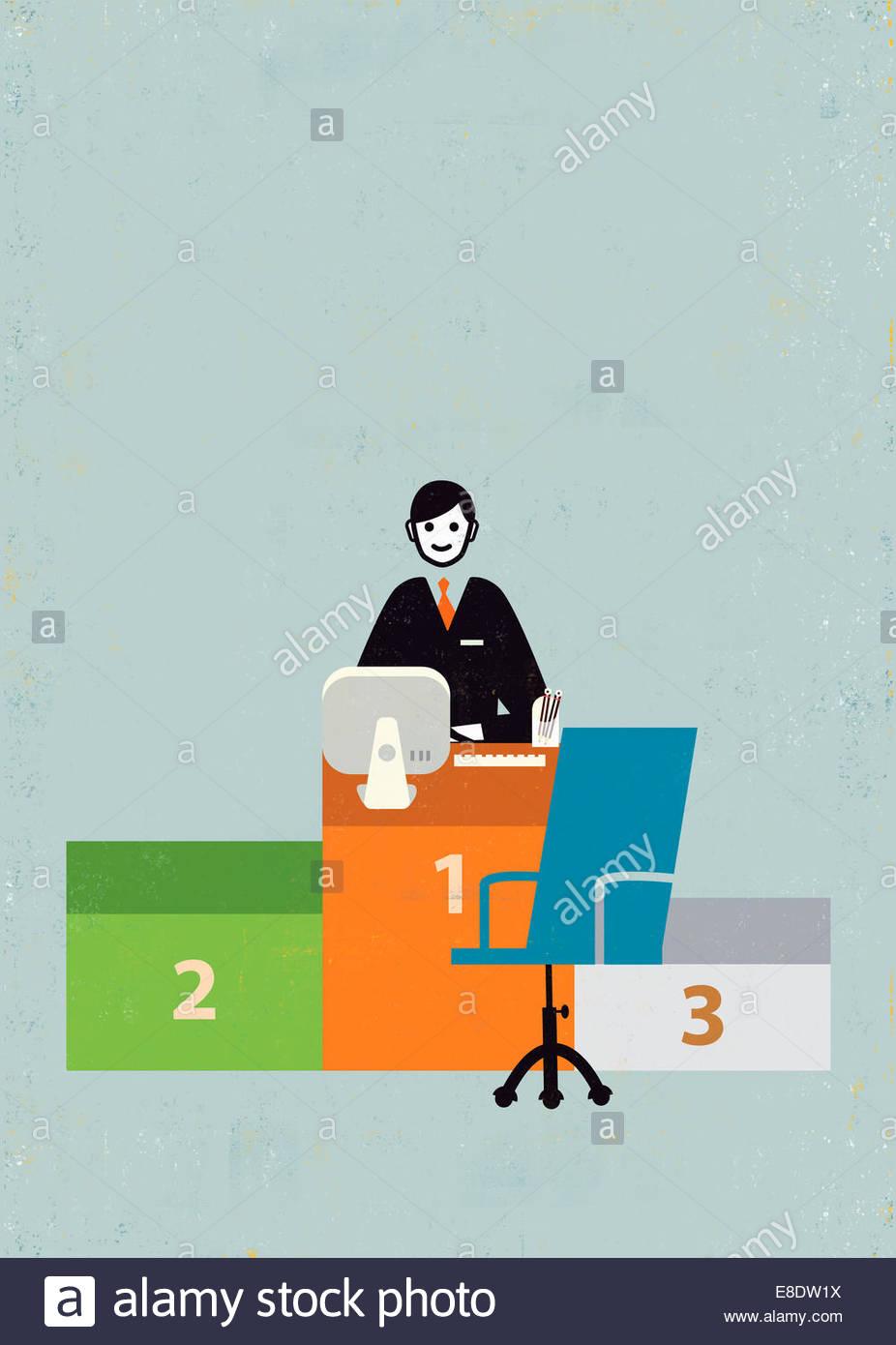 Empresario sonriente al número 1 podio desk Imagen De Stock